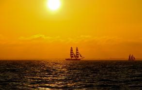 Sol nedgang set fra Skonnerten Jylland Tall Ships Race 2013
